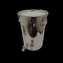 Méztartály 30 kg-os INOX, tetővel két INOX csappal - LOGAR