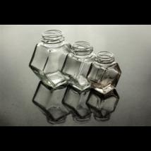 Hatszög üveg 200 ml álló (T043)