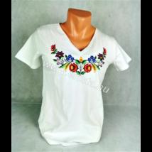 Méhészet Női karcsúsított V nyakú póló fehér XS-es méret