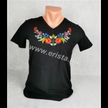 Méhészet Női karcsúsított V nyakú póló fekete S-es méret