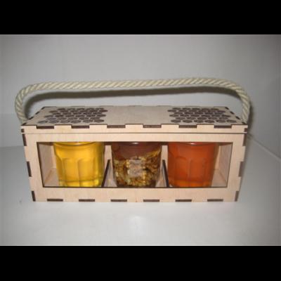 Méhészet Díszdoboz fa 3 x 250 g-os üveghez