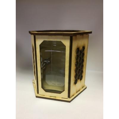 Méhészet Díszdoboz fa hexagon üveghez