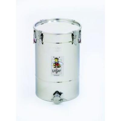 Méhészet Méztartály 50 kg-os INOX, csatos tetővel,  INOX csappal - Logar