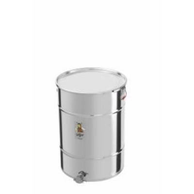 Méhészet Méztartály 200 kg-os INOX , csatos tetővel,  INOX csappal - Logar