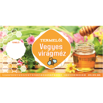 Méhészet Címke bianco Vegyes virág 1000 g